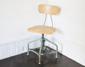 Mid-Century Industrial Swivel Desk Chair or Drafting Stool