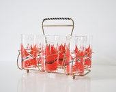 Six Mid-Century Sailing Tumblers with Caddy