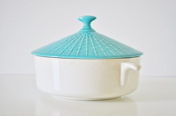 Mid-Century Turquoise Covered Dish