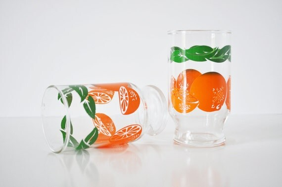 Pair of Orange Juice Glasses