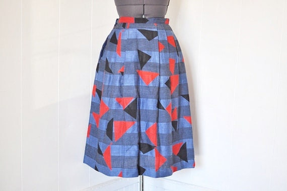 1980s Color Block Umi Skirt
