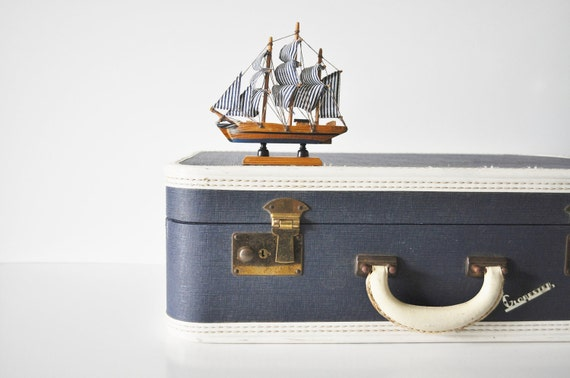 Mid Century Navy Blue Suitcase