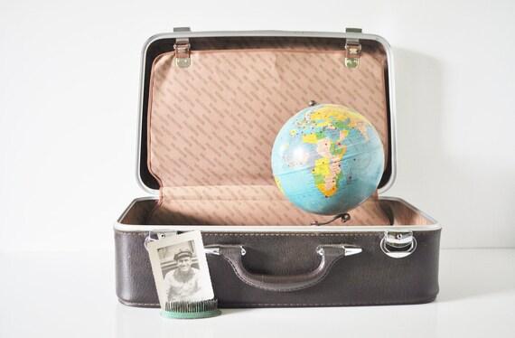 Dark Brown Vinyl Suitcase - The Wallstreeter by Earhart
