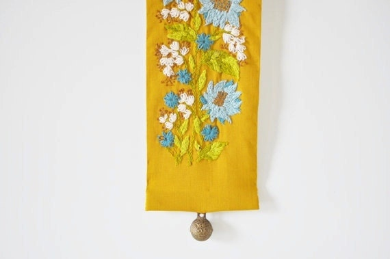 Crewel Embroidered Bell Pull