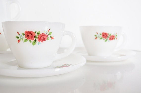 Fire King Cup and Saucer - Rose Pattern