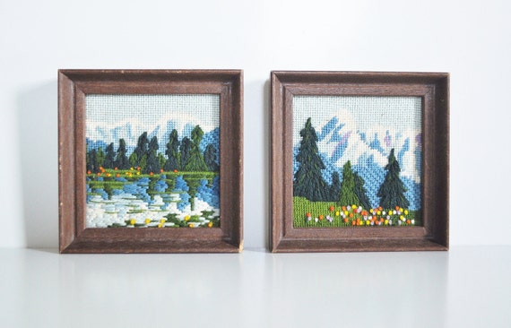 Mountain Scenes Crewel Embroideries