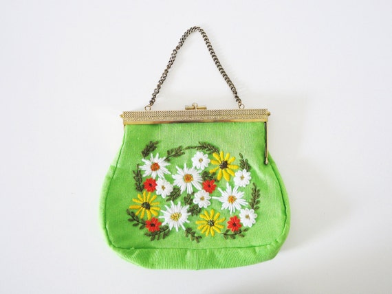 Bright Green Crewel Embroidered Purse