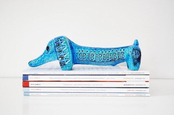Bitossi Dachshund Figurine / Mid-Century / Aldo Londi for Bitossi / Made in Italy