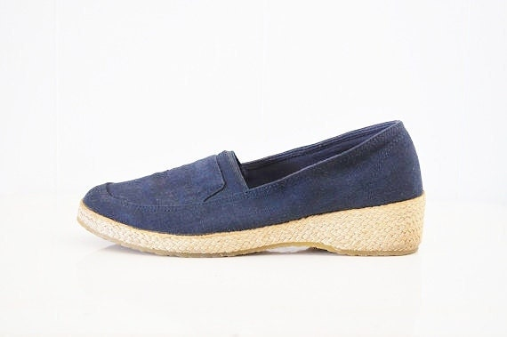 Vintage Navy Blue Slip-Ons by Grasshopper