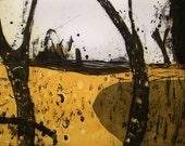 Landscape, original etching and aquatint by Marta Wakula-Mac, yellow field, trees, abstract landacape. Modern