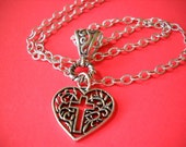 Cross & Heart Charm Sterling Silver Necklace