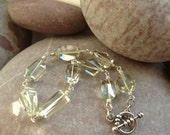 SOLD Yarrow - silver bracelet with sparkling nuggets of green amethyst (prasiolite)