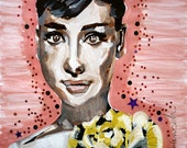 Painting - Audrey Hepburn watercolor, sequin, glitter, ink, flower, actress, british, hollywood, movies