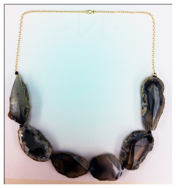 Natural Agate Statement Necklace