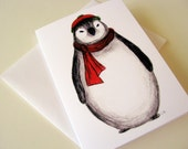 Chubby Penguin Single Greeting Card - Anytime, Just Because, Winter, Holiday, Blank
