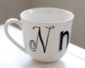 personalized monogrammed tea cup - custom black and white bold fonts - hand painted design