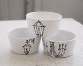 trio of new orleans light fixture dipping bowls - black and white - hand drawn illustration set of three (3)