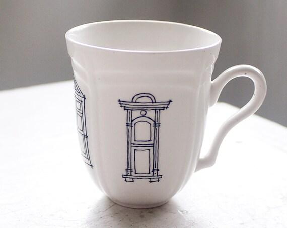victorian window illustrations - san francisco architecture - vintage porcelain mug