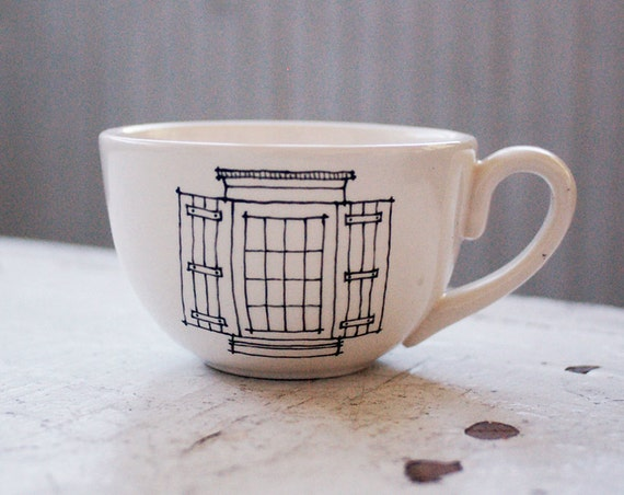 window and door tea cup - new orleans inspired - black and white mug - hand drawn illustration