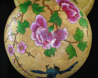 Blue Bird and Flowers Asian Gourd Bowl with Lid