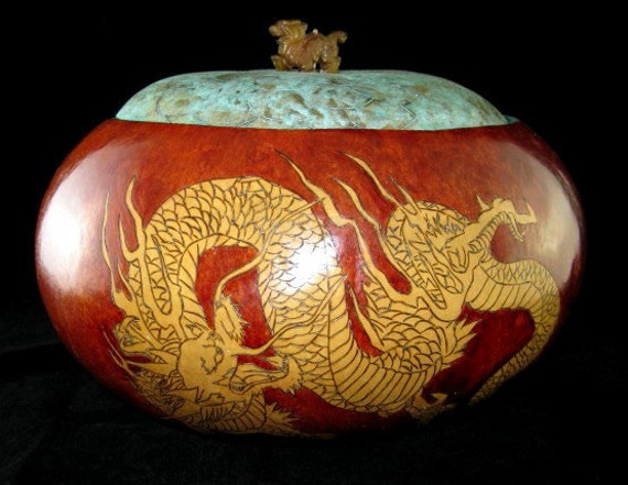 Year of the Dragon Gourd Bowl with Lid