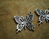Reserved Listing For DAWNE W Antiqued Tibetan Silver Butterfly Charm 4 Pieces with Split Rings Attached