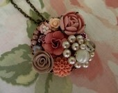 Salmon floral collage pendant