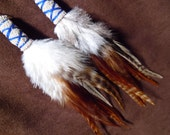 Feather Earrings- Ivory and Violet Feather Earrings- Made to Order