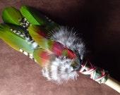 Smudge Fan- Jungle Warrior - Smudge Fan with Bloodstone Arrow Head and Drift Wood Handle