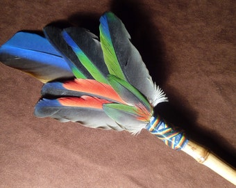 Smudge Fan-Ancient Wisdoms- Sacred Smudge Fan with Kyanite - made to order