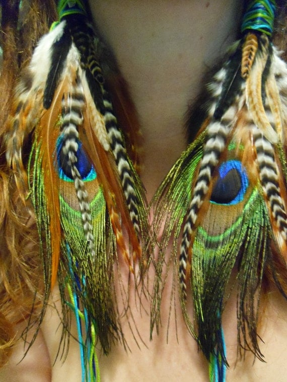 Feather Earrings- Long Forest Fairy Feather Earrings- Made to Order