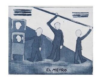"""Aquatint and etching """"Subway"""" (""""El metro"""")"""
