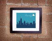 Modern Chicago Skyline Print - Printable 8x10