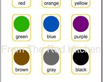 Colors Flashcards PDF (11 basic colors including white and black)