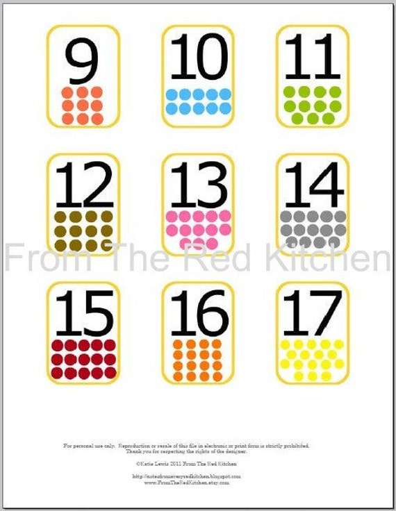 Number Flashcards 0-20 with math symbols PDF by FromTheRedKitchen