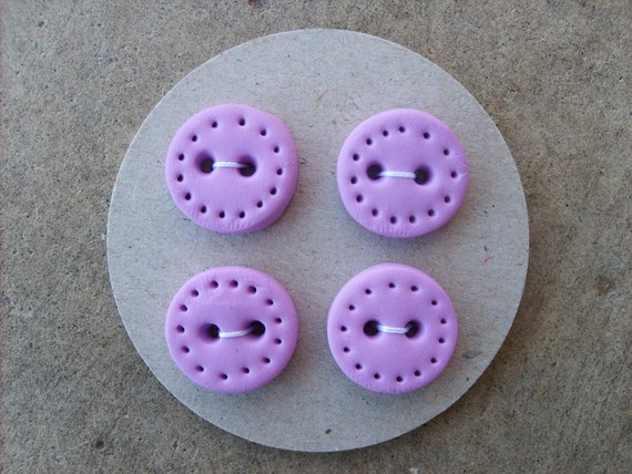 Handmade Buttons set of 4--Light Purple with dotted edge
