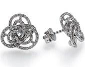 0.70 carats Natural Diamond Stud Earrings 14k White Gold Circle Shape