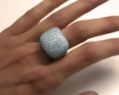 One of a Kind 4.50 carats Diamond Cocktail Ring 18k White Gold