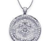 0.80 carats Diamond Filigree Pendant 14k White Gold