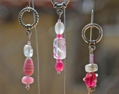 Pink Polkadots And Stripes, Pink Glass Bead Knitting Stitch Markers