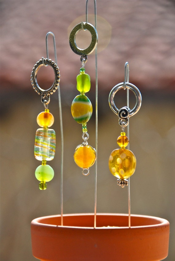 Lemon Lime, Lemon Yellow And Lime Green Glass Knitting Stitch Markers