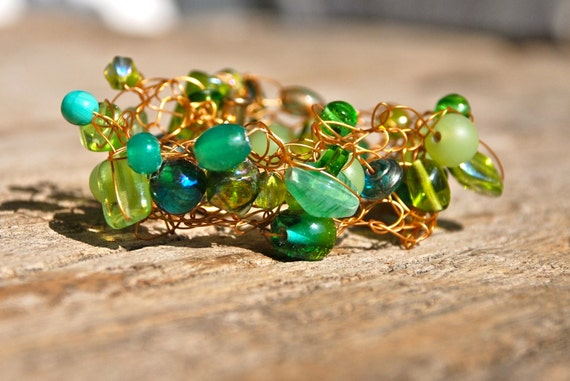 Green With Envy, Knitted Gold Wire And Green Glass Bead Bracelet