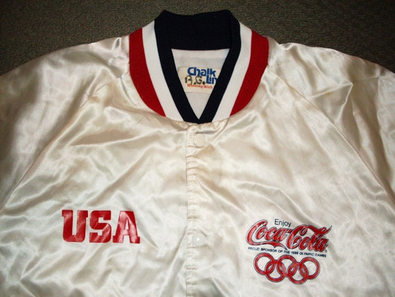 vintage USA 1988 Olympics Jacket Satin Snap up Chalk Line Large White Coca Cola 80s lined coat
