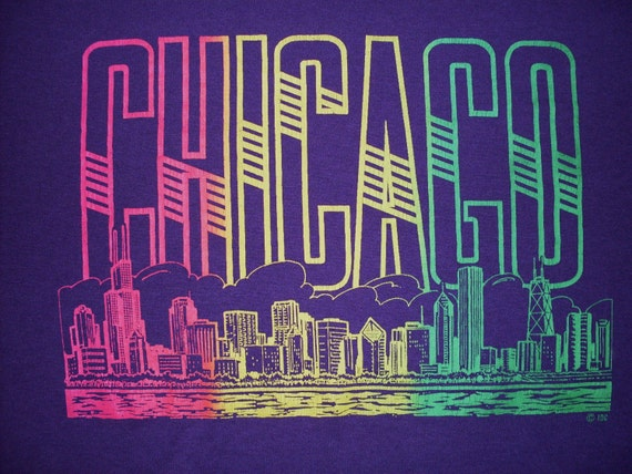 vintage Chicago T Shirt neon retro 50/50 Purple Screen Stars USA Large tourist 90s