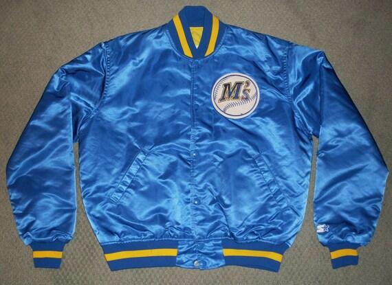 vintage Seatte Mariners Starter Jacket satin snap up MLB 80s Griffey Large USA coat