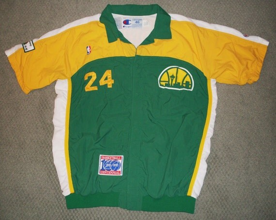 vintage Seatte Supersonics Game Used Warm Up Jacket shirt NBA Conlon Champion 1991 XL sports collectible