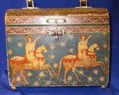 Gorgeous Vintage Themed scene wooden box purse