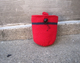 SALE.... size small..RED - crocheted rock climbing chalk bag