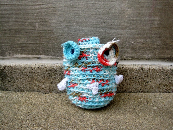 reserved for MASON ---- BEEDY - a Rok.Owl Chalk Bag no.5 - white, light turquoise, tangerine - ready to ship