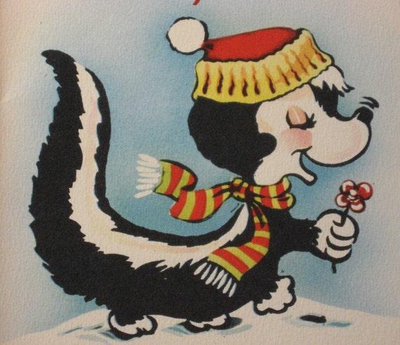 nos Vintage Skunk Christmas Card Novelty